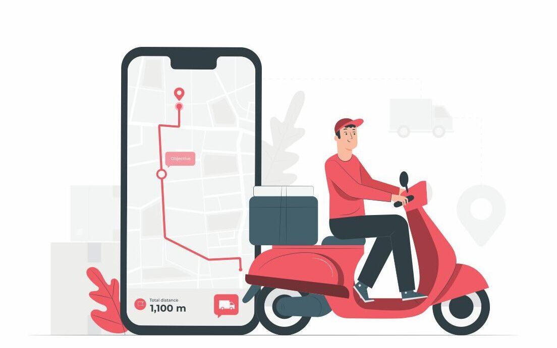 Vetor com um celular e gps ao fundo, motoboy em uma motoneta vermelha fazendo entregas, Delivery.